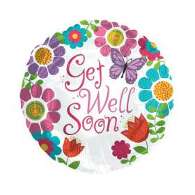 Get Well Soon Balloon Butterfly Flowers