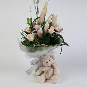 Lily and Rose Bouquet with Chandler Bear